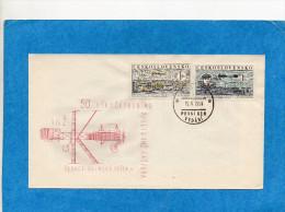 MARCOPHILIE- Tchéco Slovaquie-Enveloppe Illustrée-AVIONS- -FDC-1959-N°A47-48 1er Vol -Kaspara - FDC