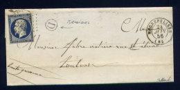 Lettre De Bruniquel Par Nègrepelisse Pour Toulouse ( Tarn Et Garonne 1856 ) - 1849-1876: Klassik