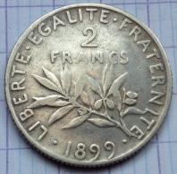 France - 2 Francs - 1899 - Semeuse - Argent - France