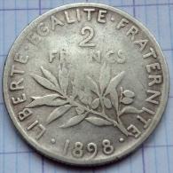 France - 2 Francs - 1898 - Semeuse - Argent - France