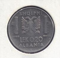 ALBANIA 0,20 LEK 1939  Non-magnétique  WWII  Victor-Emmanuel III Occupation Italienne - Albania