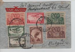 TP 185-186-187-177-TPA 7-8-9 S/L.Avion Goma En 1938  écrite De Katana Kivu V.Gent PR1220 - Congo Belge