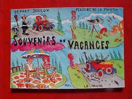 Cpsm Humour PLAISIRS DE VACANCES Signée PAT , Panne Voiture , Photographe , Police , Comic A/s Recto Verso Prix Fixe - Illustrateurs & Photographes
