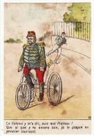 CHROMO Magasin Des Halles St Nazaire Militaire Colonel Vélo Bicyclette Tricycle Emargée - Chromos