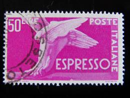 """ITALIA Repubblica Espressi -1955-56- """"Piede Alato"""" £. 50 Varietà Fil. US° (descrizione) - Abarten Und Kuriositäten"""