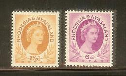 RHODESIA & NYASALAND SG 3a & 7 1954-56 MNH LOOK !! - Rhodesia & Nyasaland (1954-1963)