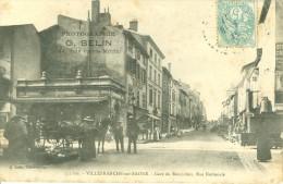 (69) VILLEFRANCHE-sur-SAÔNE : Gare Du Beaujolais, Rue Nationale (animée) - Villefranche-sur-Saone