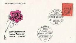 2642- KONRAD ADENAUER, GERMAN STATESMAN, ROSE, COVER FDC, 1968, GERMANY - Celebrità