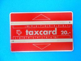 TAXCARD 20.- RED CARD  ( Switzerland Old Rare Card - Code 109B ) Carte Suisse Schweiz Svizzera Swiss - Switzerland