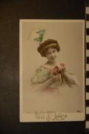CP, Fantaisie, Femme Aux Fleurs Vive Sainte Louise - Tarjetas De Fantasía