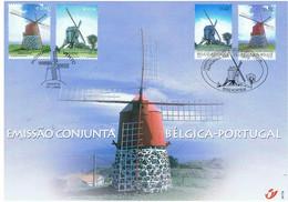 België 2002 Herdenkingskaart 3091/92HK Portugal Azoren Molens - Cartas Commemorativas