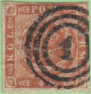 """DEN SC #4  Royal Emblems  4 Margins  W/sm Cnr Crs @ UL, """"1"""" (Kjobenhavn) In Concentric Circles, CV $15.00 - 1851-63 (Frederik VII)"""