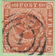 """DEN SC #4a  Royal Emblems  4 Margins  """"1"""" (Kjobenhavn) In Concentric Circles, CV $15.00 - 1851-63 (Frederik VII)"""