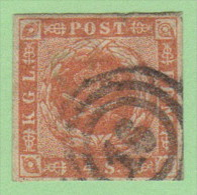 """DEN SC #4a  Royal Emblems  4 Margins  """"16"""" (Flensburg) In Concentric Circles, CV $15.00 - 1851-63 (Frederik VII)"""