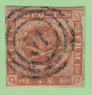 "DEN SC #4  Royal Emblems  4 Margins (close @ LL)  ""51"" (Odense) In Concentric Circles, CV $15.00 - 1851-63 (Frederik VII)"