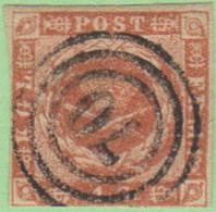 "DEN SC #4  Royal Emblems  4 Margins (close @ BL)  ""70"" (Svendborg) In Concentric Circles, CV $15.00 - 1851-63 (Frederik VII)"