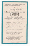 Faire-Part De Décés Ancien - PLOEGSTEERT - Thérèse Marguerite Andrée RENIER , Fille De Michel Et Marthe LEROY - Comines - Faire-part