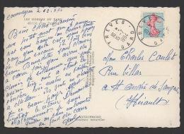 DF / SUR CARTE POSTALE DES GORGES DU TARN / TP 1233 SEMEUSE DE PIEL / OBL TREVES 15 -7 1964 GARD - Lettres & Documents