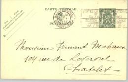 080303 ARMS 35c [1935 ] - POSTAL CARD BRUXELLES(MIDI)//BRUSSEL (ZUID)>CHATELET- BRUSSELS INTERNATIONAL FAIR 1937 - Postcards [1909-34]