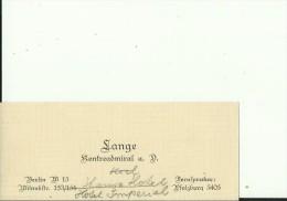DEUTSCHLAND  --  VISITING CARD  --   LANGE  --  KONTRAADMIRAL A. D.   --  BERLIN - Visiting Cards
