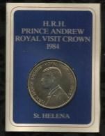 STE HELENE . 50 PENCE . PRINCE ANDREW . ROYAL VISIT CROWN . 1984 . - Santa Helena