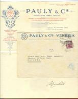 PAULY& C.IE,VENEZIA, VETRI E PORCELLANE, BUSTA CON LETTERA VIAGGIATA 1949, VENEZIA-RAVENNA - Vetro & Cristallo