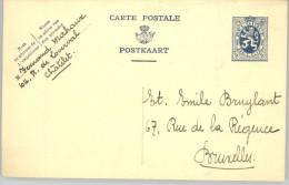 080308 LION 50c [1929 ] - POSTAL CARD - CHATELET>BRUXELLES [UNCANCELLED] - Postcards [1909-34]