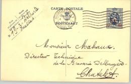080309 LION 35c  ON 50c [1929 ] - POSTAL CARD BRUXELLES(QL)//BRUSSEL (LW)>CHATELET - Postcards [1909-34]