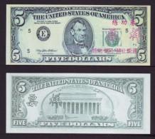 (Replica)China BOC (bank of china) training/test banknote,United States B-3 Series USA $5 dollars specimen overprint