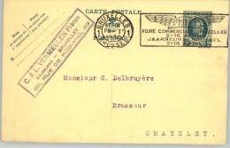 080312 HOUYOUX 35c  [1927 ] - POSTAL CARD1BRUXELLES1//BRUSSEL>CHATELET [1930 BRUXELLES COMMERCIAL FAIR] - Postcards [1909-34]