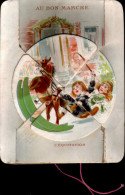 Chromo AU BON MARCHE L'équitation Avec Système (tournant, 2 Images) Commandé Par Une Ficelle En Bas - Vieux Papiers
