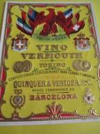 Vino Vermouth/Torino/ Quinquer & Veentosa /Barcelona / Espagne/Vers 1920   ETIQ16 - Etiquettes