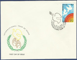 PAKISTAN 1986 MNH S.G 700 FDC FIRST DAY COVER INTERNATIONAL YEAR OF PEACE, DOVES AND INSIGNIA, BIRD BIRDS, DOVE - Pakistan