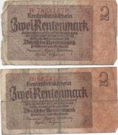 2 Billets 2 Zwei Rentenmark Berlin 30 Janvier 1937 Deutche Rentenbank B78681579 - B86247050 - [ 3] 1918-1933 : République De Weimar