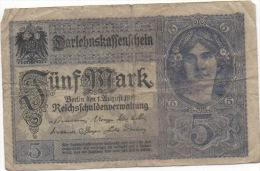 1 Billet 5 Fünf Mark Darlehnskassenschein 1 August 1913? C10303593 - [13] Bundeskassenschein