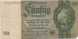 1 Billet 50 Fünfzig Reichsmark 30 Mars 1933 G.25190481 - [ 4] 1933-1945 : Troisième Reich