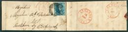 N°4 - Médaillon 20 Centimes Bleu, Margé, Obl. P.4 Sur Lettre D´ANVERS Le 18 Février 1851 Vers Kerkhove Bij Oortryck, Via - 1849-1850 Médaillons (3/5)