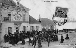 49 - Erigné : A La Descente Des Pêcheurs - Hotel TERMINUS Mson ROULLET - C. JANIN SUCCr Belle Animation Vue Peu Courante - France