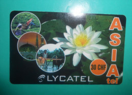 LYCATEL Asia 30.CHF Flowers Fleurs Flora Flore White Lotus ( Switzerland Prepaid Card ) GSM Remote Prepayee Carte Suisse - Switzerland