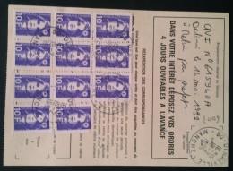 MARIANNE De BRIAT 10F X 11 Sur Ordre De Réexpédition Temporaire Denneville 1996 - Poststempel (Briefe)
