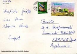 Giraffe,girafe,Postcard Kenya Via Yugoslavia,Macedonia,nice Stamp - Kenya