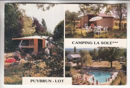 """PUYBRUN 46 - Camping """" LA SOLE """" ( M. Mme Jean CLARE ) - Caravane Avec Auvent - CPM GF 1997 - Lot - Frankrijk"""