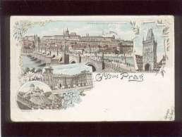 Gruss Aus Prag édit. Kanstdruck Kretzschmar & Schatz écrite En 1896 Prague Praha - Tschechische Republik