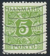 Denmark Danemark Danmark 1930: 5ø Yellow-green Porto Postage Due, F-VF Used (DCDK00078) - Port Dû (Taxe)