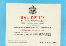 BAL De L 'X-INVITATION -- Carton Dépliant Pour Le 11 Juin 1958- - Programs