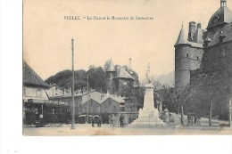 B  38  -  CPA  De  VIZILLE  -  TRAMWAY  Sur  La  Place  Et  Le  Monument  Du  Centenaire  (  Animée ) - Vizille