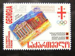 Olympic Champions From Olympic Games In Athens Greece 2004, Judoka, Weightlifting, Post Stamp From Georgia, Mint MNH - Georgia