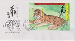 Tokelau FDC Block Mi 43 Lunar New Year - Year Of The Tiger 2010 - First Day Cancellation In Fakaofo - Tokelau