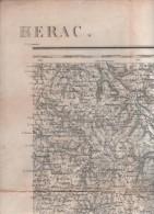 CARTE TOPOGRAPHIQUE BergERAC - ATUR BREUILH LA CROPTE FLEURAC THONAC FANLAC AJAT THENON MILHAC LADOUZE EYLIAC VERGT .... - Cartes Topographiques