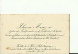 AUSTRIA,  HUNGARY  --  VISITING CARD  --   JOHANN MICSIESCO  --  FECHTMEISTER UND FECHTSCHUL. INHABER...... - Visitenkarten